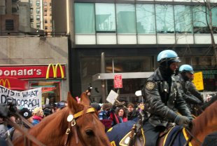 NYPD mounted police wedging through a peaceful crowd on 3rd Avenue (1:30 PM)